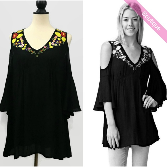 4347232be35f99 Jodifl BlK Embroidered Open Shoulder Top S
